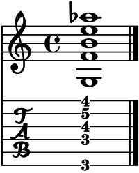 Acorde G13b9 guitarra