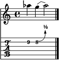 Bend cuerda 2 medio tono