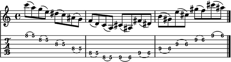 ligados en la guitarra ejercicio pull off