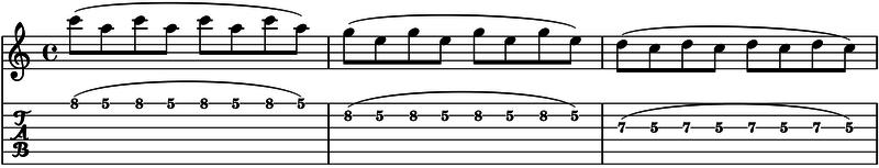 ligados en la guitarra