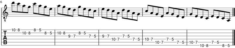 como conectar pentatonicas - secuencia de 4 notas