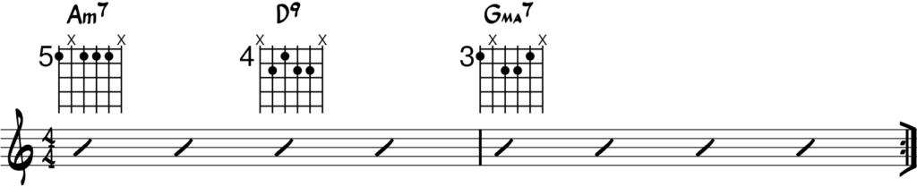 Progresión ii V I en Sol mayor guitarra