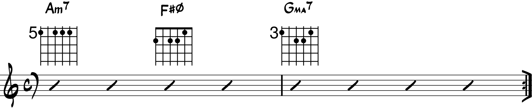 ejemplo de progresión con acorde semidisminuido guitarra