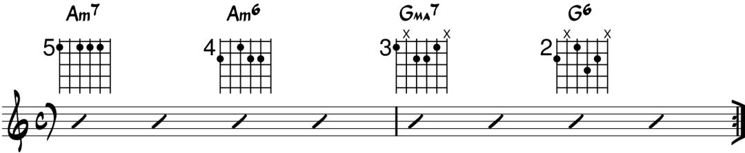 ejemplo de progresión con acorde de sexta menor guitarra